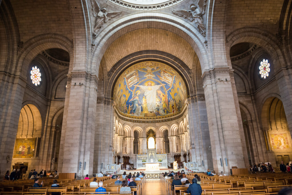 Inside the Sacre-Coeur Basilica in Montmartre.