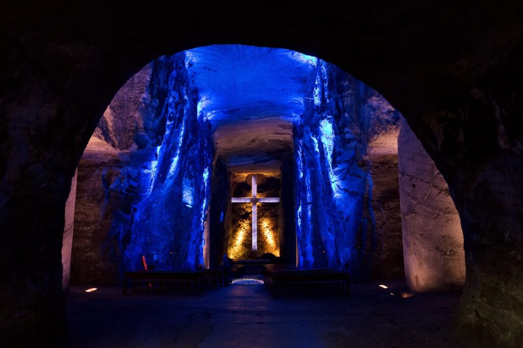 Inside the Salt Cathedral of Zipaquira.