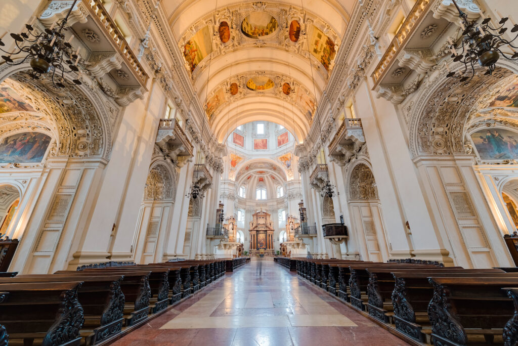 Inside the Salzburg Cathedral in Austria.