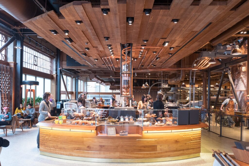 Inside the Starbucks Reserve Roastery in Seattle.