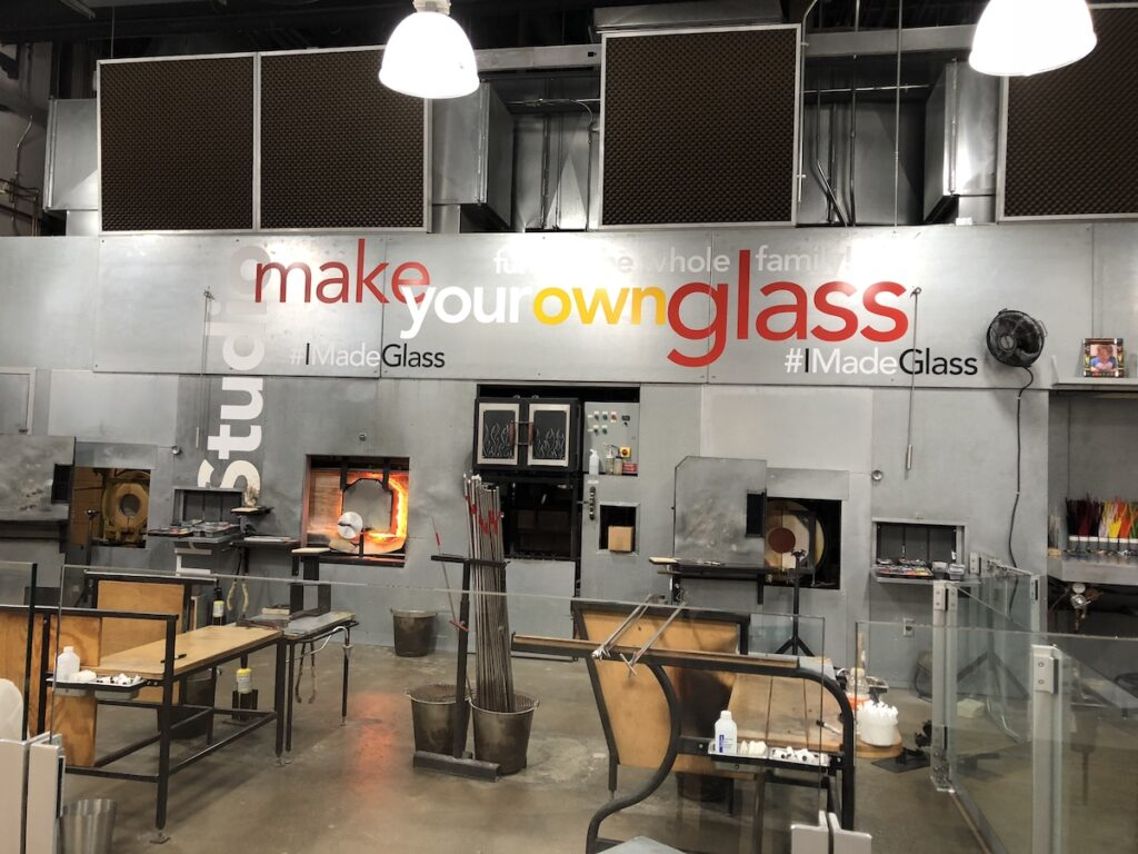 Inside the studio at the Corning Museum of Glass.