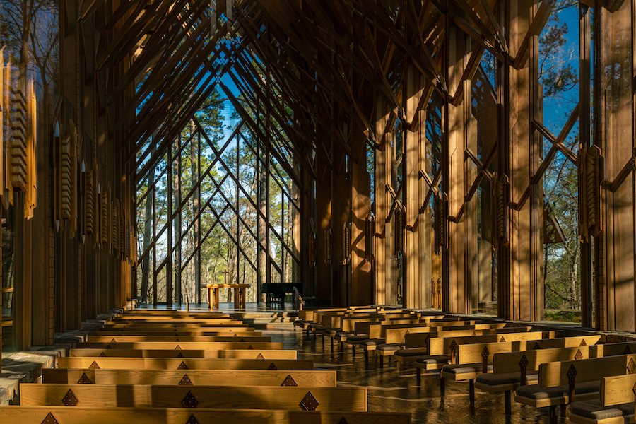 Inside the Thorncrown Chapel in Eureka Springs.
