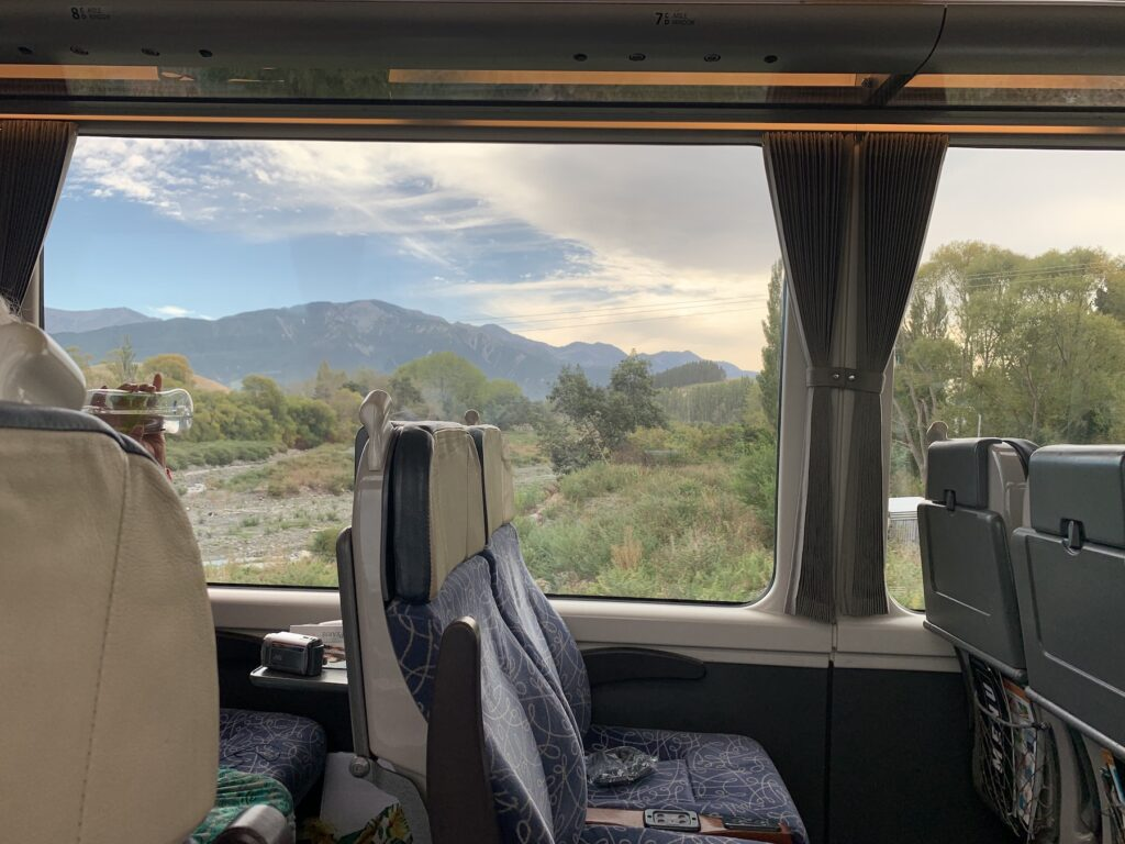 Inside the train from Christchurch to Picton.