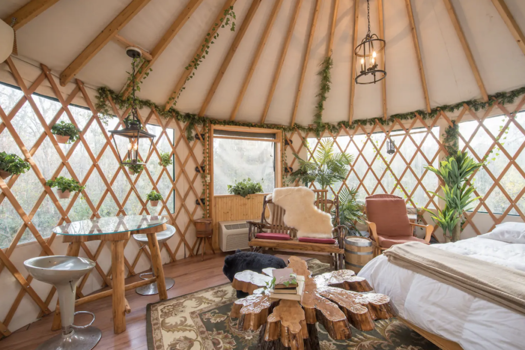 Inside the treehouse Airbnb in Florida.