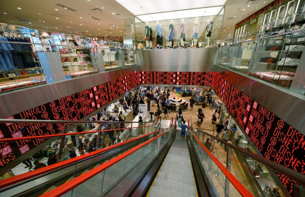Inside the UNIQLO store at Disney Springs.