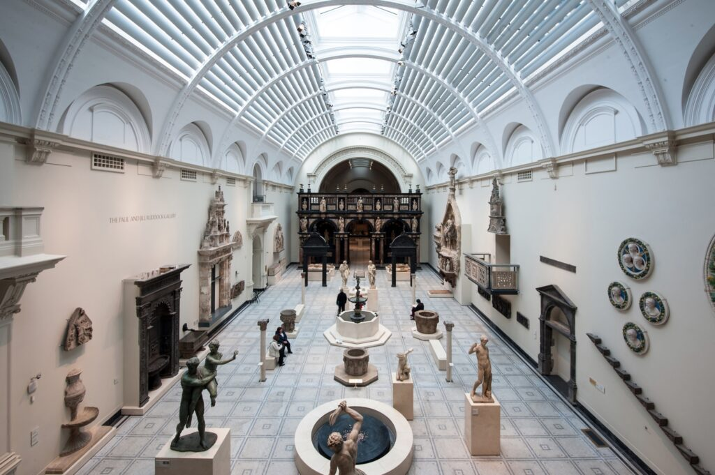 Inside the Victoria And Albert Museum in London.