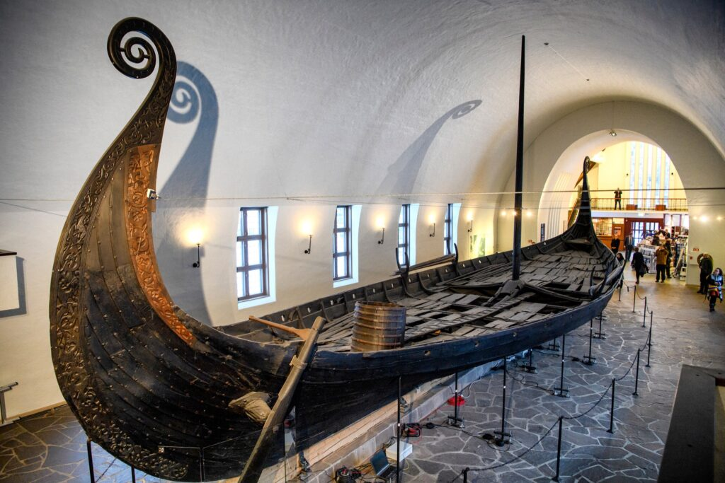 Inside the Viking Ship Museum in Oslo, Norway.