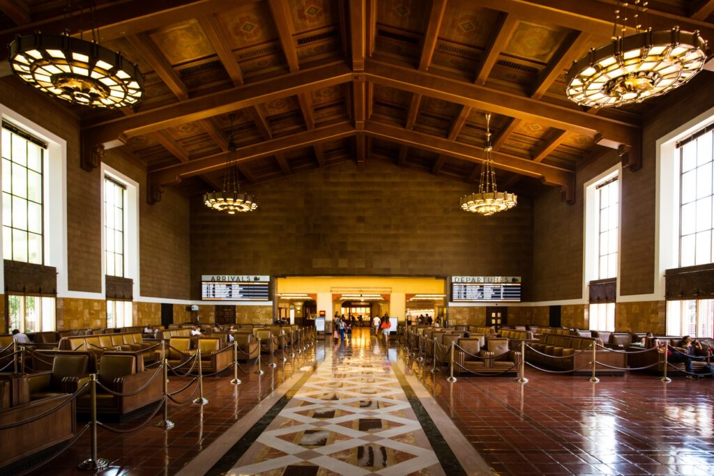 Inside Union Station in Los Angeles, California.
