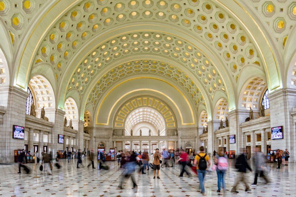 Inside Washington D.C.'s Union Station.