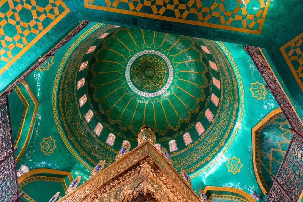 Interior dome of the Bibi-Heybat Mosque.