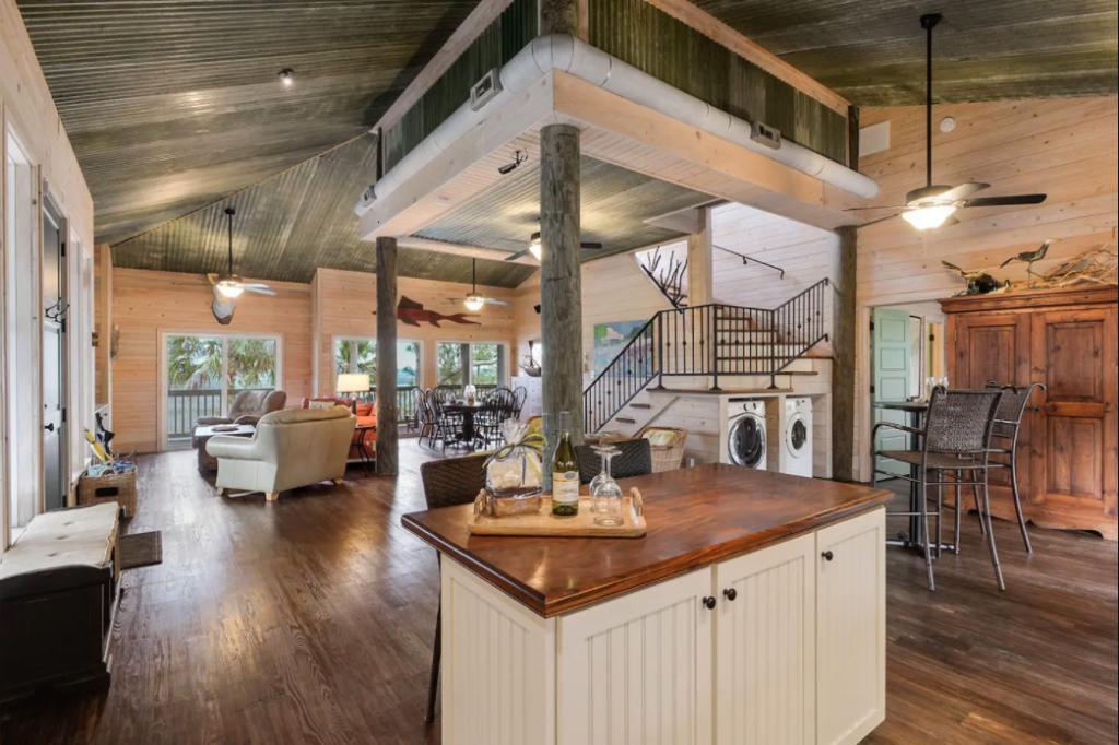 Interior of a private island home near Hilton Head Island, South Carolina.