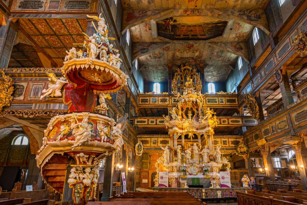 Interior of the Church Of Peace in Swidnica, Poland.