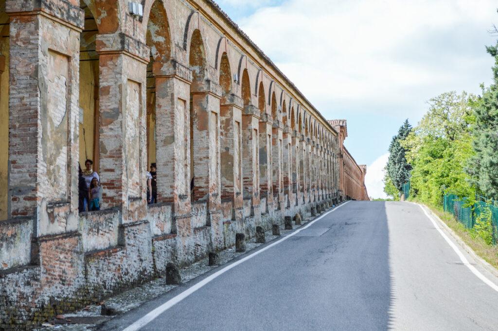 Interior view inside the Portico di San Luca, Italy.