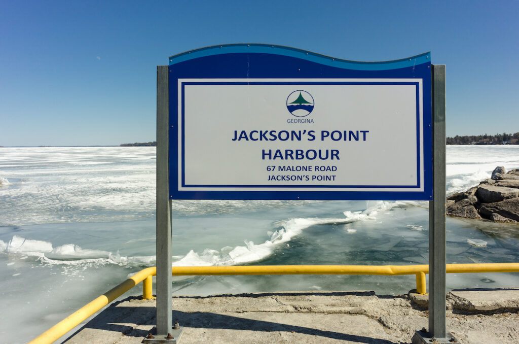 Jackson's Point on a frozen Lake Simcoe.