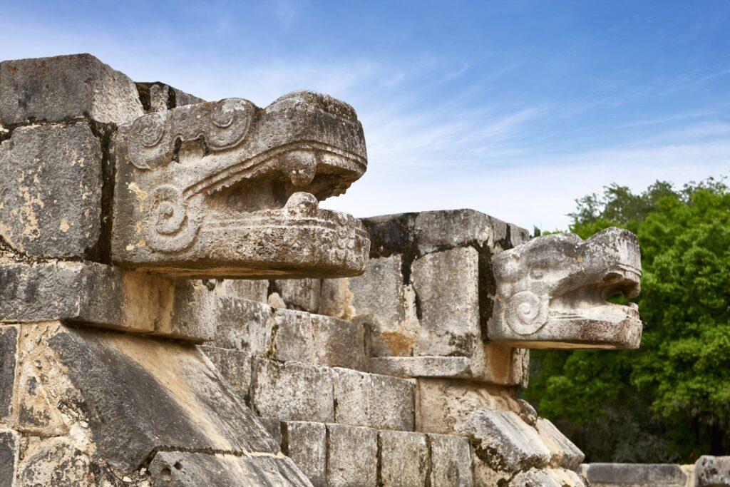 Jaguar Heads at the Chichen Itza ruins.