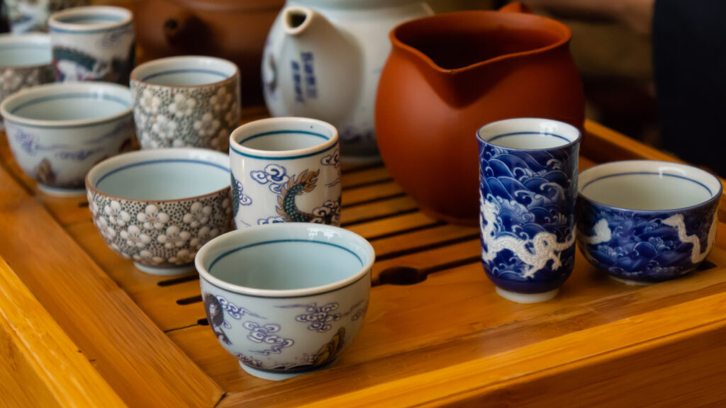 Japanese tea cups and pots