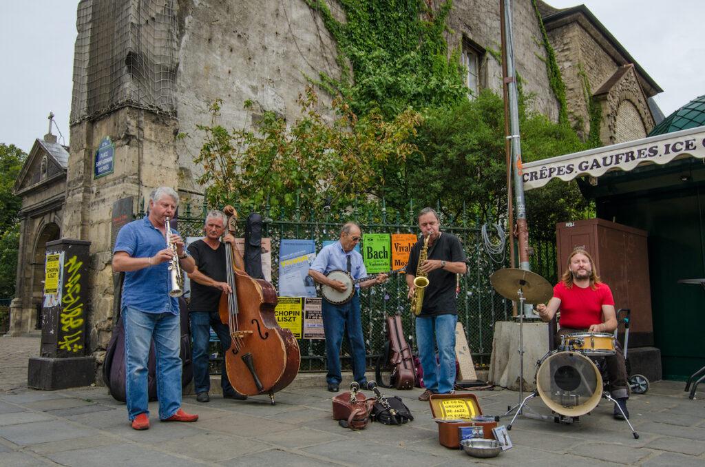 Jazz musicians in the Saint Germain des Pres neighborhood.