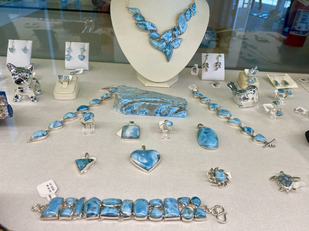 Jewelry made of larimar at a shop in Amber Cove.