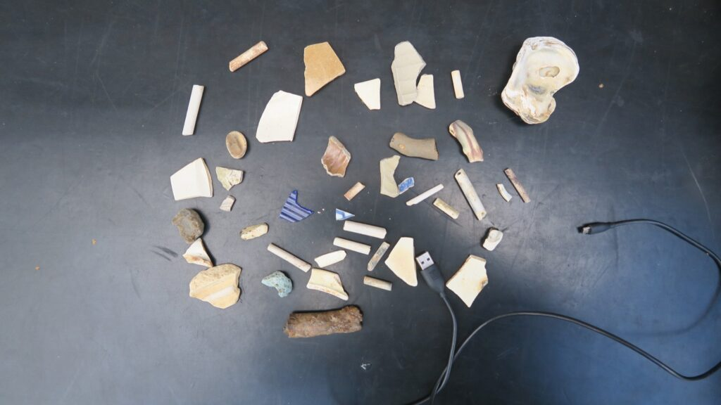 Jill's finds while mudlarking on the River Thames.
