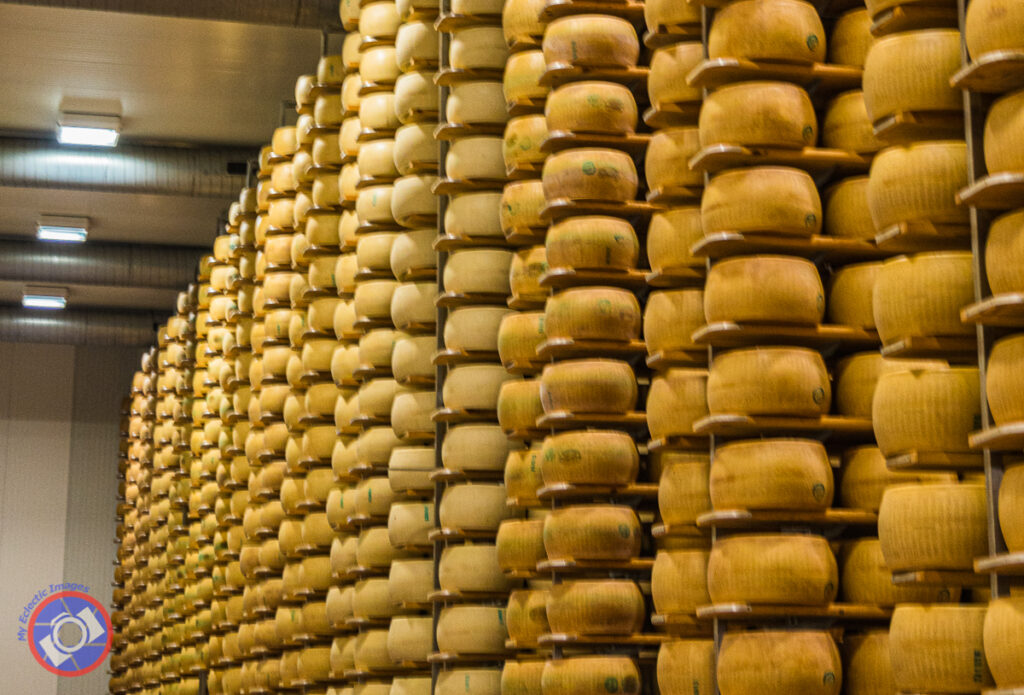 Just A Few of the Thousands of Wheels Of Parmigiano-Reggiano Aging in a Warehouse Near Modena