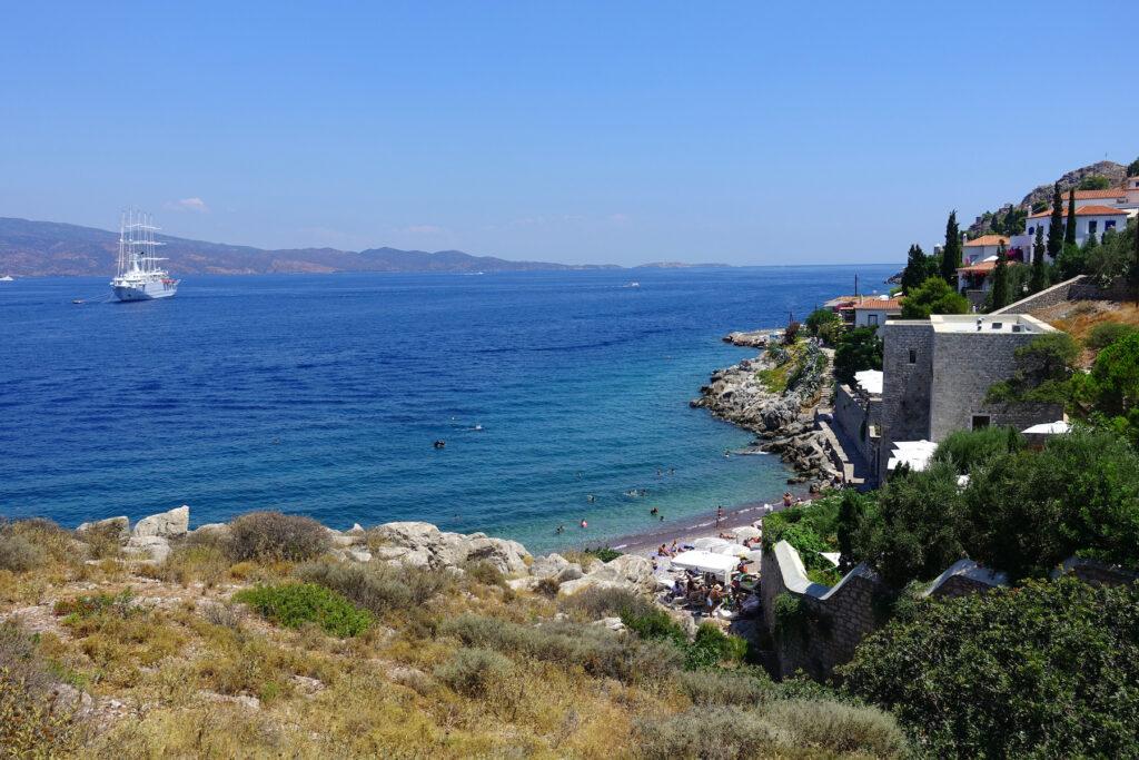 Kaminia Beach in Hydra, Greece.