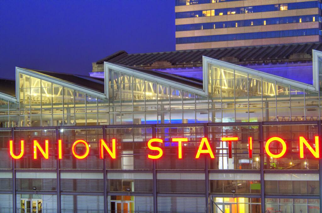 Kansas City's Union Station at dusk