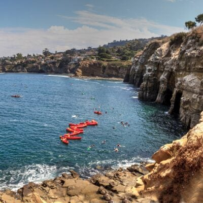 Kayakers at La Jolla Cove in California.