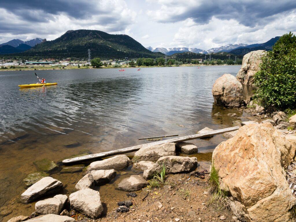 Kayakers in Estes Park, Colorado.
