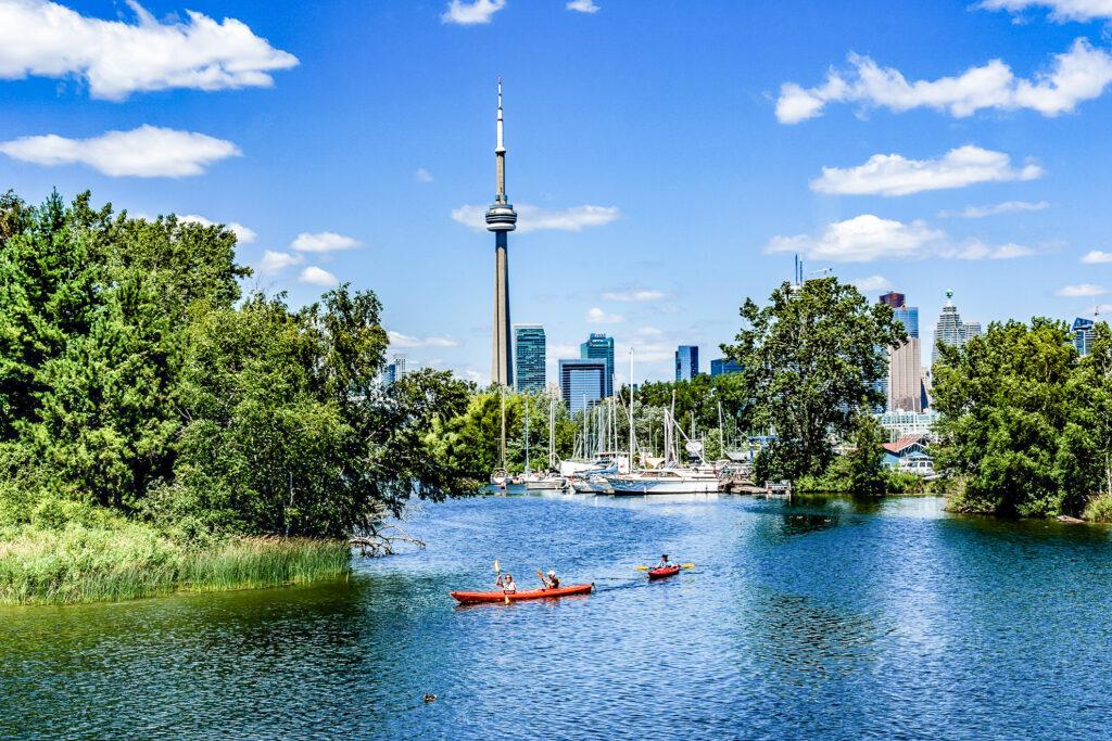 Kayakers in Toronto, Canada.