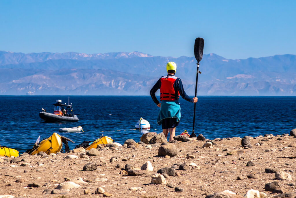 Kayakers on Santa Cruz in the Channel Islands.