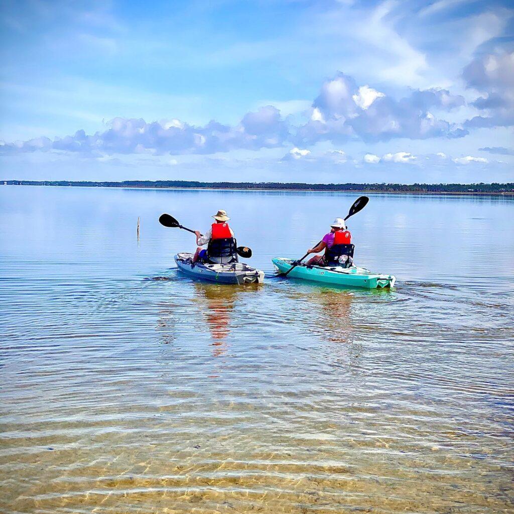 Kayaking in Port St. Joe Bay, Florida.