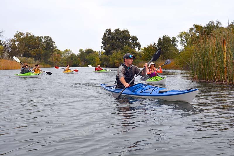 Kayaking on Lodi Lake in California.