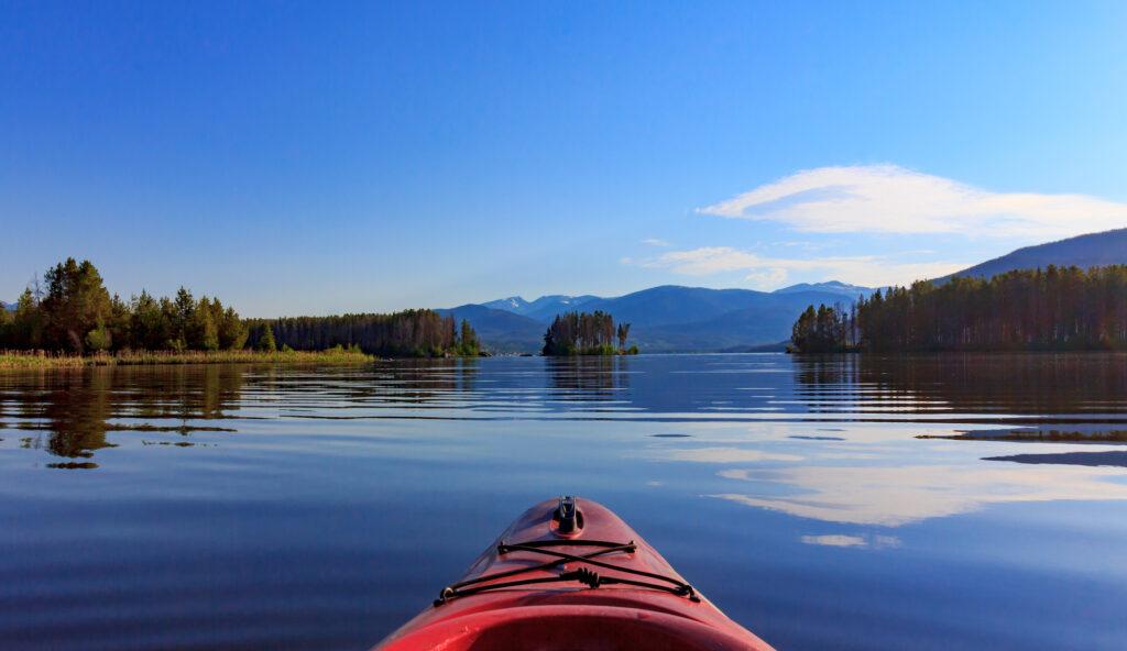 Kayaking on Shadow Mountain Lake in Colorado.