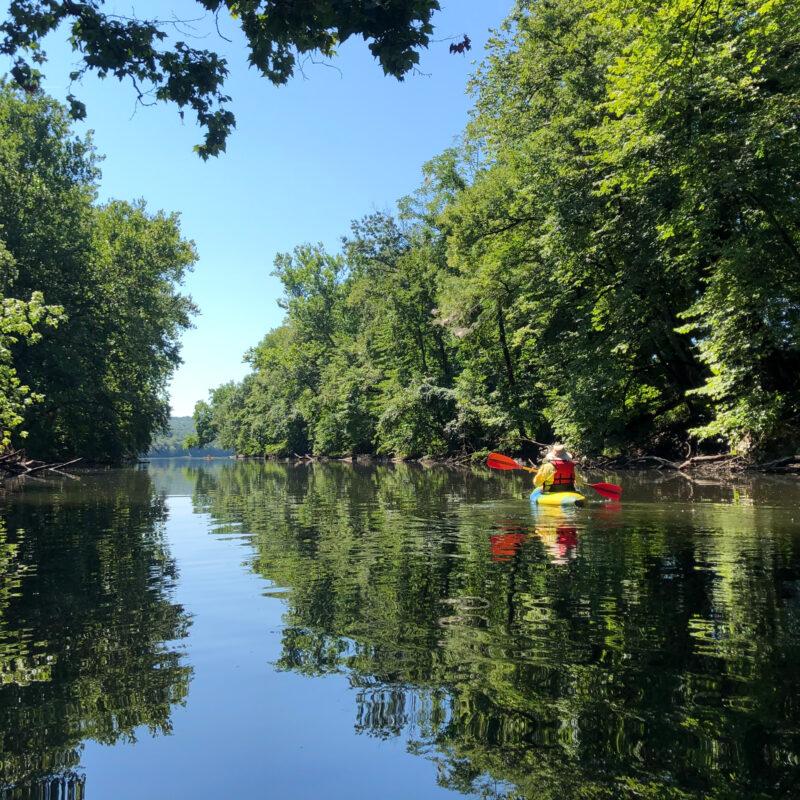 Kayaking on the Delaware in Bucks County, Pennsylvania.