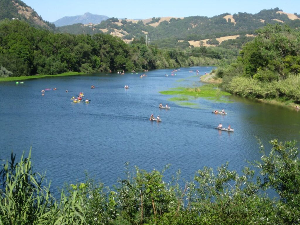Kayaking on the Russian River in Healdsburg, California.
