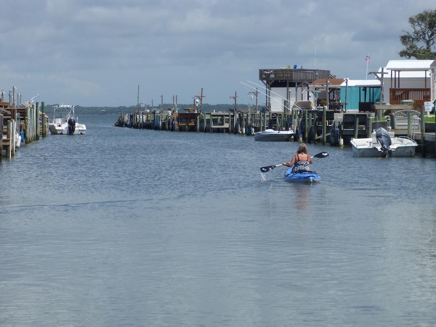 Kayaking the waters of Emerald Isle in North Carolina.