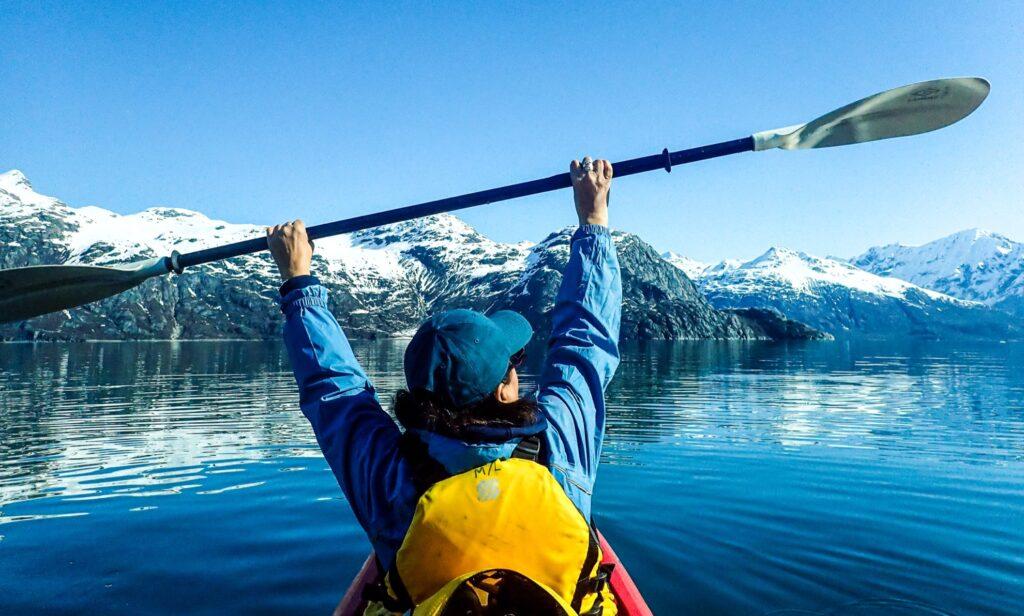 Kayaking through Glacier Bay.