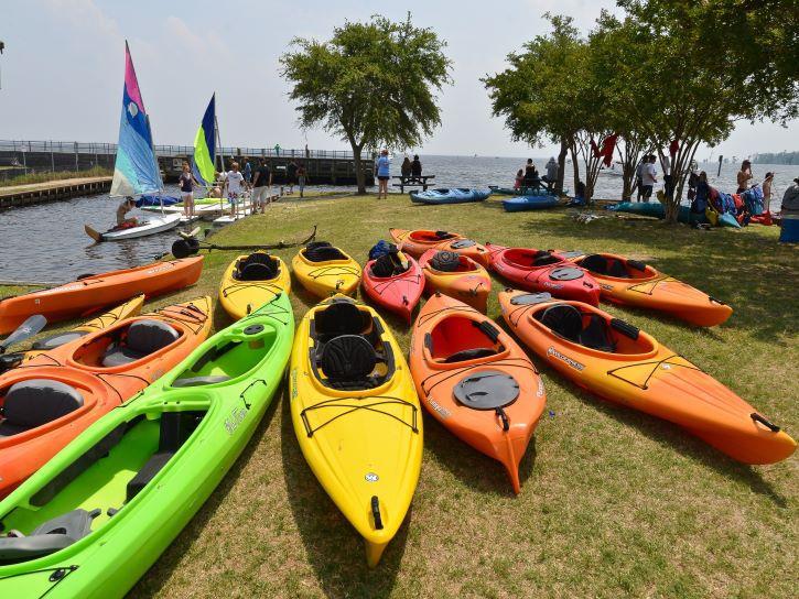 Kayaks for rent in downtown Edenton, North Carolina.