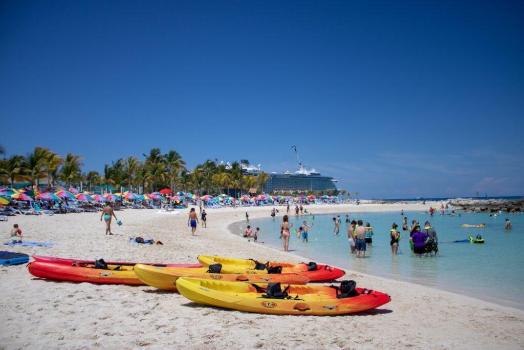 Kayaks on a beach on CocoCay.
