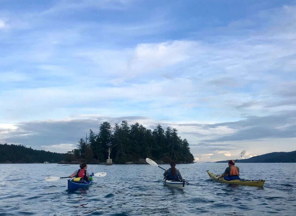 Kaykers in the waters of Salt Spring Island.