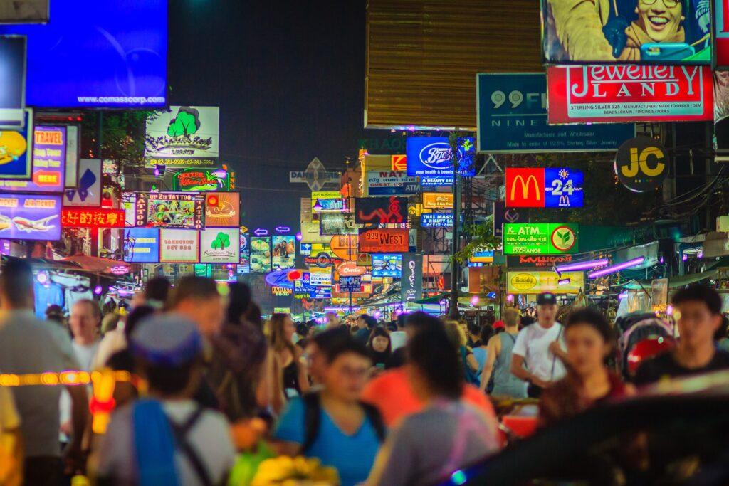 Khao San Road in Bangkok, Thailand.