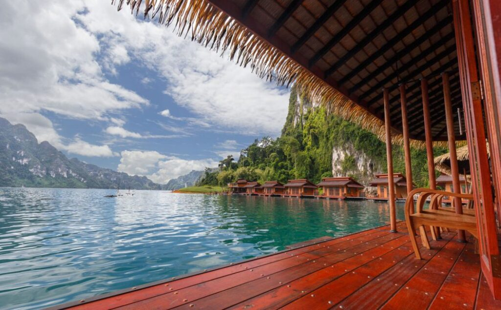 Khao Sok Lake bungalows in Thailand.
