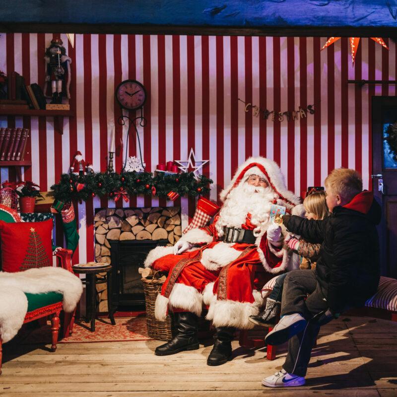 Kids meeting Santa Claus in years past.