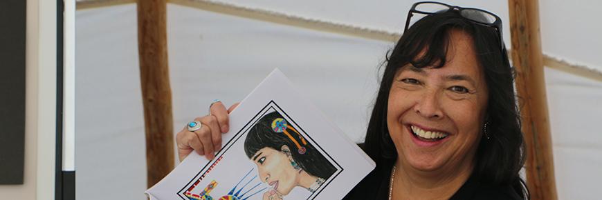 Kim Soo Goodtrack and her pastel artwork.