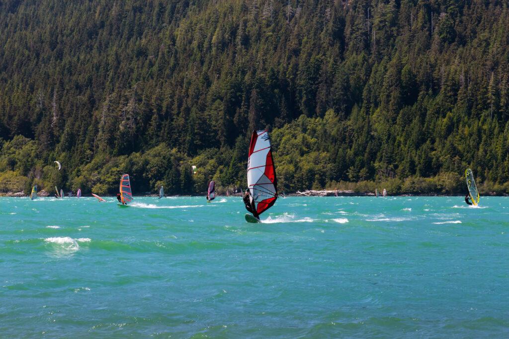 Kiteboarders on Nitinat Lake on Vancouver Island.