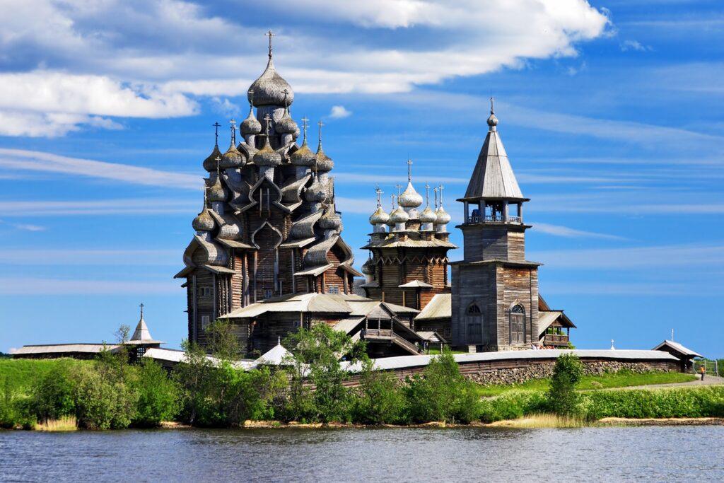 Kizhi Pogost on Kizhi Island, Russia.