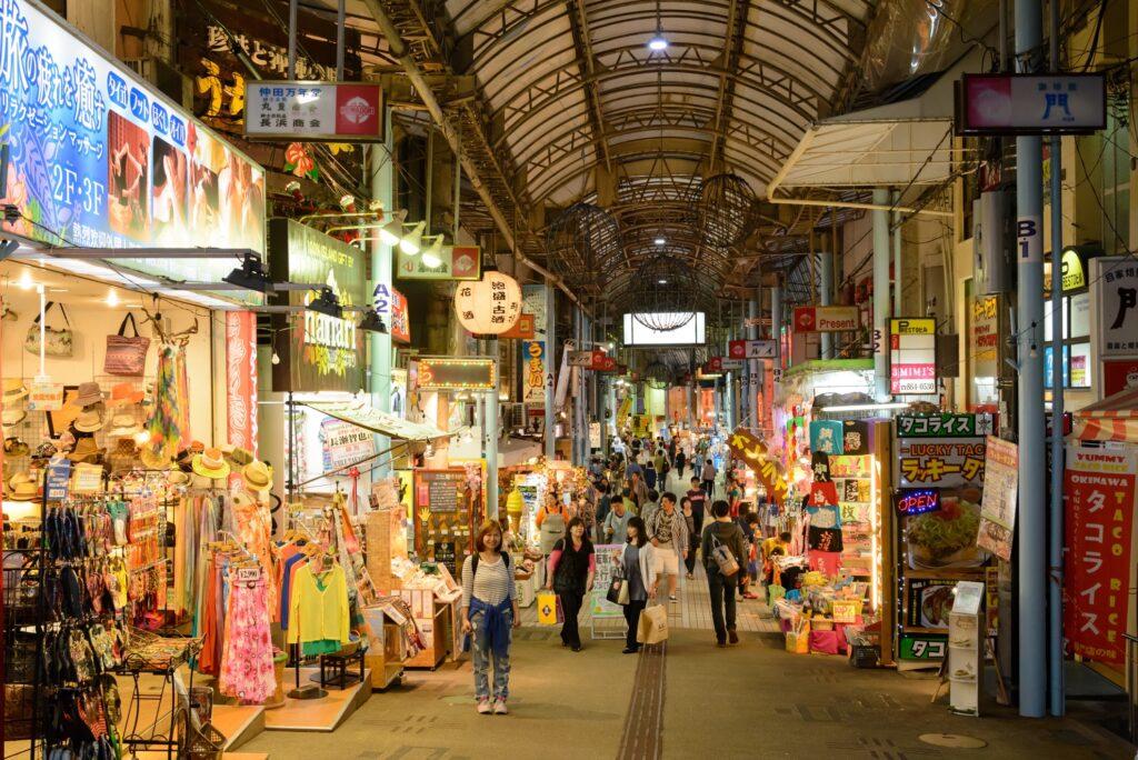 Kokusai Street in Naha, Japan.