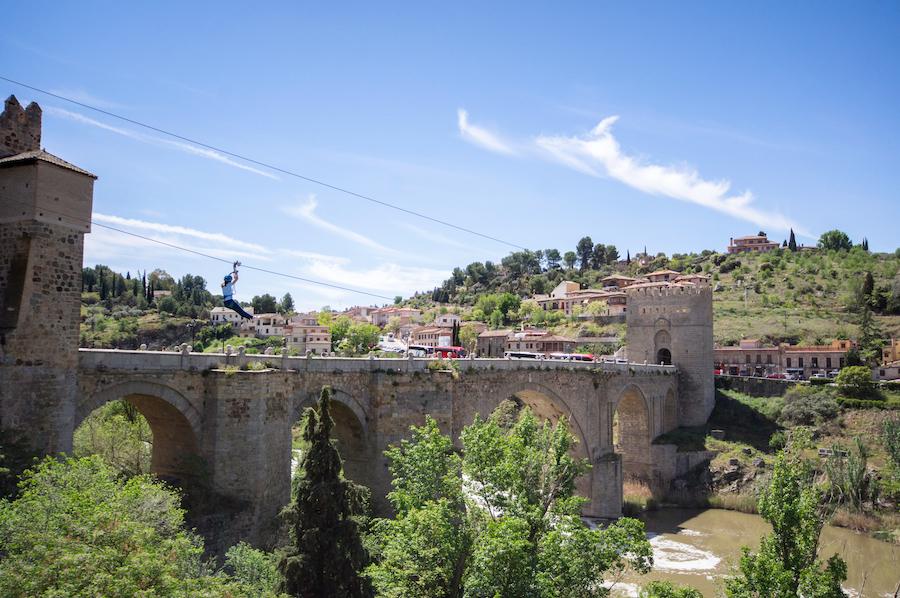 La Tirolina, a zip line in Toledo, Spain.