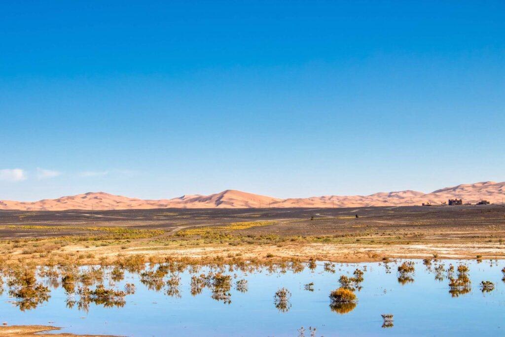 Lac Dayet Srij, a Saharan lake in Morocco.