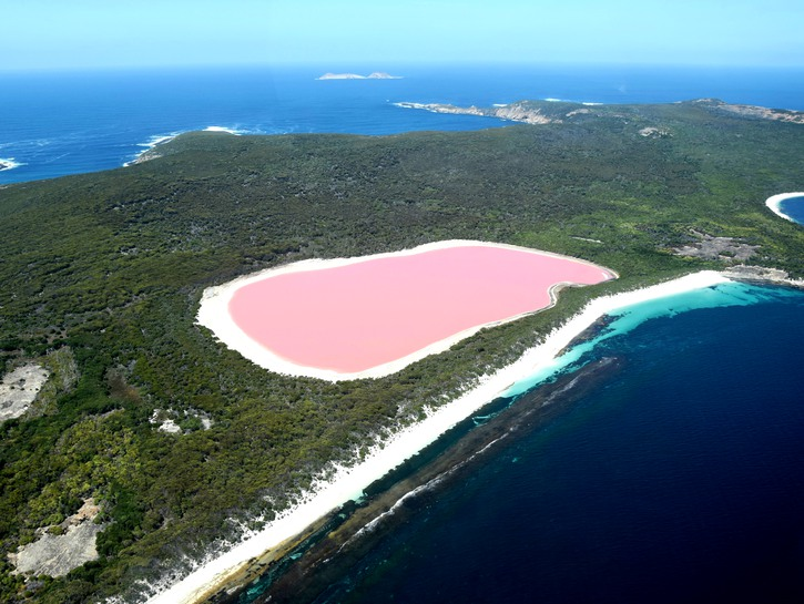 Lake Hillier, pink island lake in Australia, seen from the air